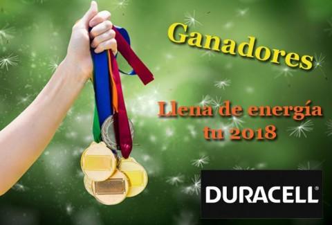 Ganadores Sorteo Llena de energía tu 2018 con Duracell