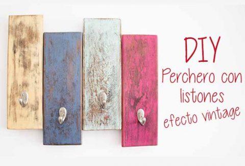 Perchero vintage con listones de madera DIY-Hazlo tú mismo